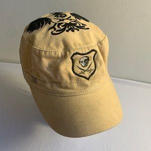 Khaki Hat With Velvet Skull Design